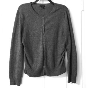 Prive' Cashmere Cardigan Cinched Sides Gray Large